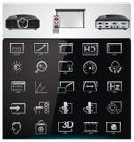features videoen för projektorspecifikationsvektorn Arkivbild