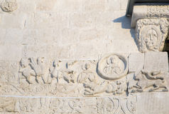 Features white stone carving at St. George`s Cathedral Stock Images