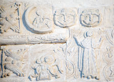 Features white stone carving at St. George`s Cathedral Royalty Free Stock Images