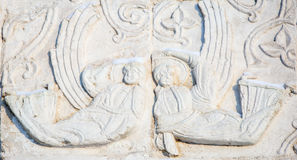 Features white stone carving at St. George`s Cathedral Stock Photography