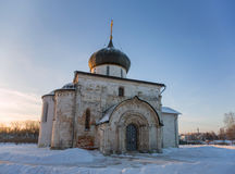 Features white stone carving at St. George`s Cathedral. Features white stone carving Georievskom Cathedral in Yuriev-Polsky winter royalty free stock images
