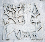Features white stone carving at St. George`s Cathedral. Features white stone carving Georievskom Cathedral in Yuriev-Polsky winter stock photos