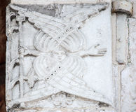 Features white stone carving at St. George`s Cathedral. Features white stone carving Georievskom Cathedral in Yuriev-Polsky winter royalty free stock photo