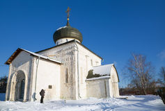 Features white stone carving at St. George`s Cathedral. Features white stone carving Georievskom Cathedral in Yuriev-Polsky winter stock photography