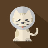 Featuring a Cat Wearing a Cat Collar. Vector Illustration Stock Images