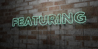 FEATURING - Glowing Neon Sign on stonework wall - 3D rendered royalty free stock illustration. Can be used for online banner ads and direct mailers Stock Photos