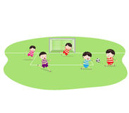 Featuring a Group of Boys Playing Soccer. Little Children happy playing illuttration royalty free illustration