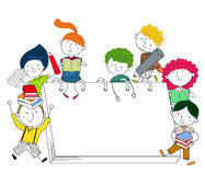 Featuring Kids Playing Around Giant Books Royalty Free Stock Photography