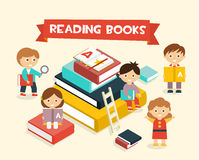 Featuring Kids Reading Books Royalty Free Stock Photography