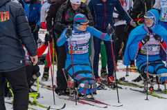 11 Feb 2017 Art-Veretevo Estate annual ski race Nikolov Perevoz 2017 Russialoppet ski marathon. Paralympic race. Royalty Free Stock Image