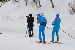 11 Feb 2017 Art-Veretevo Estate annual ski race Nikolov Perevoz 2017 Russialoppet ski marathon. Paralympic race. Stock Photography