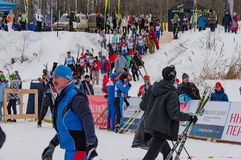 11 Feb 2017 Art-Veretevo Estate annual ski race Nikolov Perevoz 2017 Russialoppet ski marathon. Paralympic race. stock image