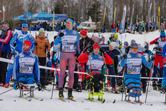 11 Feb 2017 Art-Veretevo Estate annual ski race Nikolov Perevoz 2017 Russialoppet ski marathon. Paralympic race. Stock Photo