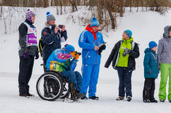 11 Feb 2017 Art-Veretevo Estate annual ski race Nikolov Perevoz 2017 Russialoppet ski marathon. Paralympic race. Royalty Free Stock Images