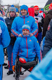 11 Feb 2017 Art-Veretevo Estate annual ski race Nikolov Perevoz 2017 Russialoppet ski marathon. Paralympic race . Stock Photography