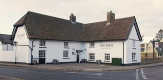 5-Feb-2018 The Boot Histon reopens as Brasserie. 5-Feb-2018 The recently refurbished pub, The Boot, in Histon, Cambridgeshire reopens as a Brasserie in the White Royalty Free Stock Images