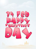14 Feb, Happy Valentines Day celebration. Glossy pink text 14 Feb, Happy Valentines Day on shiny cloudy sky background Royalty Free Stock Photography