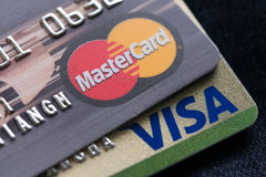 24 feb 2016. Mastercard, Maestro and Visa credit cards Royalty Free Stock Photography