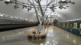 New station Troparevo in Moscow subway. FEB 28, 2018, MOSCOW, RUSSIA: New station Troparevo in Moscow subway. Opened on red line in 2017 stock video footage