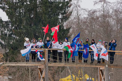 11 2017 Feb sztuki nieruchomości narciarskiej rasy Nikolov Perevoz Russialoppet narty roczny 2017 maraton Paralympic rasa Fotografia Royalty Free