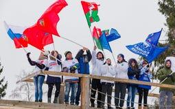 11 2017 Feb sztuki nieruchomości narciarskiej rasy Nikolov Perevoz Russialoppet narty roczny 2017 maraton Paralympic rasa Zdjęcie Royalty Free