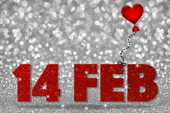 14 FEB word with heart balloon on white bokeh background. 14 FEB word with heart balloon on white silver bokeh abstract background stock image