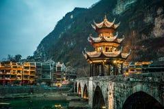 """Zhusheng Bridge, Zhenyuan city, Guizhou, China. [Feb. 2018] """"Zhenyuan""""city located in the east of Guizhou province, it has long history from Zhou Dynasty Royalty Free Stock Photography"""