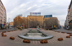 27 febbraio 2017 - Belgrado, Serbia - un quadrato nel centro di Belgrado nelle prime ore del mattino Fotografia Stock