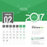 Febbraio 2017 Calendario 2017 Fotografia Stock