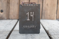14 febbraio calendario d'annata Idea di San Valentino Immagine Stock