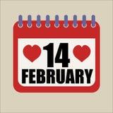 14 febbraio calendario felice di giorno di biglietti di S. Valentino del cuore illustrazione vettoriale