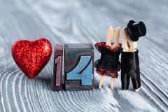 14 febbraio Carta di progettazione di giorno di biglietti di S. Valentino Uomo e donna astratti delle coppie Fotografia Stock Libera da Diritti