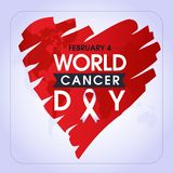 4 febbraio, giorno del Cancro del mondo Progettazione creativa della cartolina d'auguri Modello per il vettore dei grafici royalty illustrazione gratis