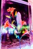 Febbraio 2013 - Harbin, Cina - fiore nel ghiaccio al festival di lanterna del ghiaccio Fotografia Stock