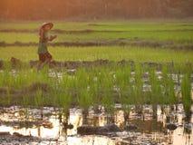 4 febbraio 2017, Hpa-an Myanmar - throu di camminata del giovane ragazzo asiatico Fotografie Stock Libere da Diritti