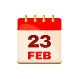 23 febbraio icona del calendario Fotografia Stock