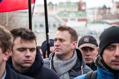 25 febbraio 2018, la RUSSIA, MOSCA Alexey, Navalny sul marzo della memoria di Boris Nemtsov nel centro di Mosca Fotografie Stock Libere da Diritti