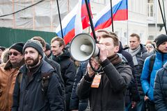 25 febbraio 2018, la RUSSIA, MOSCA Alexey, Navalny sul marzo della memoria di Boris Nemtsov nel centro di Mosca Fotografia Stock Libera da Diritti