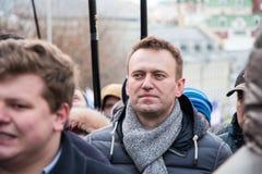 25 febbraio 2018, la RUSSIA, MOSCA Alexey, Navalny sul marzo della memoria di Boris Nemtsov nel centro di Mosca Fotografie Stock