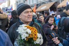 25 febbraio 2018, la RUSSIA, MOSCA Marzo della memoria di Boris Nemtsov nel centro di Mosca, l'anello del boulevard, Russia Immagini Stock Libere da Diritti