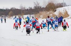11 febbraio 2017 maratona annuale 2017 dello sci di Nikolov Perevoz Russialoppet della corsa di sci della proprietà di arte-Veret Immagini Stock