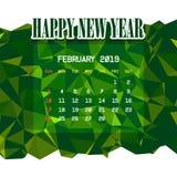Febbraio 2019 modello del calendario illustrazione di stock