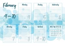 Febbraio 2019 pianificatore settimanale immagini stock libere da diritti