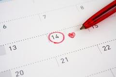 14 febbraio segno sul calendario Fotografia Stock Libera da Diritti