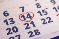 14 febbraio sul calendario Fotografia Stock Libera da Diritti