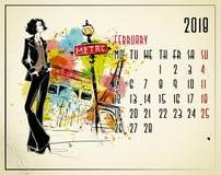 febbraio Un calendario di 2018 europei con la ragazza di modo Immagine Stock