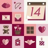Febbraio Valentine Icon Set Vector Concept felice Fotografie Stock