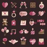 Febbraio Valentine Icon Set Vector felice Fotografie Stock Libere da Diritti