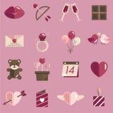Febbraio Valentine Icon Set Vector felice Fotografia Stock Libera da Diritti