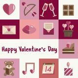 Febbraio Valentine Icon Set Vector felice Fotografia Stock